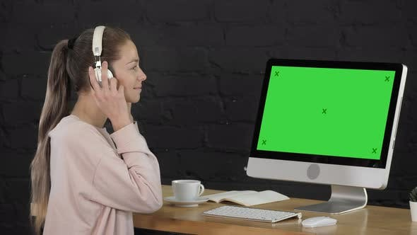 Thumbnail for Young Attractive Woman, She Is Wearing Headphones, Listening To Music and Smiling