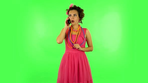 Thumbnail for Girl Talking for Mobile Phone, Very Shocked and Rejoices. Green Screen