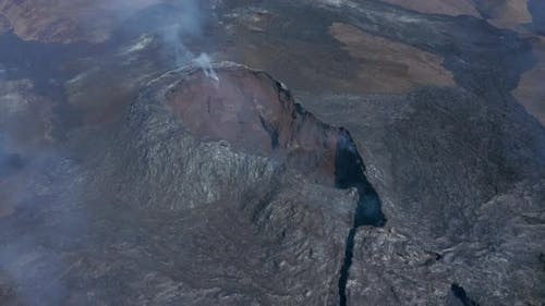 Fagradalsfjall Cone Volcanic Fissure Eruption Fumes Gases Release