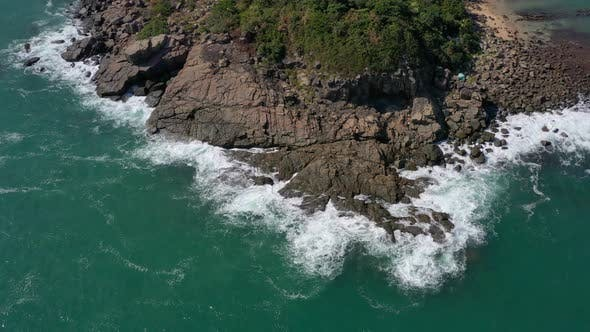 Cover Image for Drone fly over ocean water and rocky cliffs