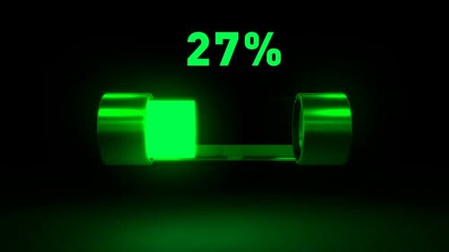 Batterieladung zeigt den Prozess des Ladevorgangs des Gerätes an