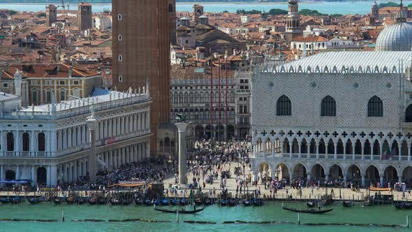 Thumbnail for People Relaxing on Saint Mark's Square in Venice, Aerial View, Summer Cityscape