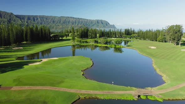Thumbnail for Park in Princeville. Hawaii. USA. Picturesque Pond and Bright Green Vegetation.