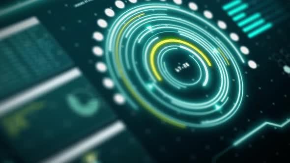 Sci-fi HUD digital transformation user interface computer of human holographics. Tilt angle camera