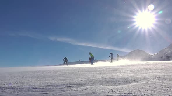 Thumbnail for Skiers, Snowstorm and Sun