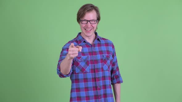 Thumbnail for Happy Young Handsome Hipster Man Pointing at Camera