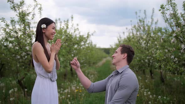 Thumbnail for Happy Woman Accepting Marriage Proposal From Man