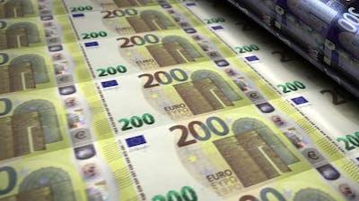 Euro money banknotes printing seamless loop
