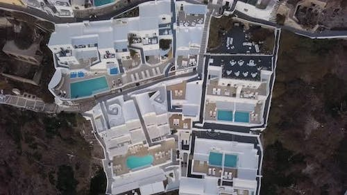 Overhead Aerial View of Villas in Fira at Sunset, Santorini