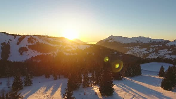 Thumbnail for Aerial View Of Amazing Sunset In Mountains