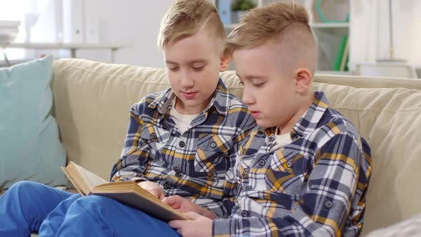 Cover Image for Caucasian Twin Boys Reading Book Together