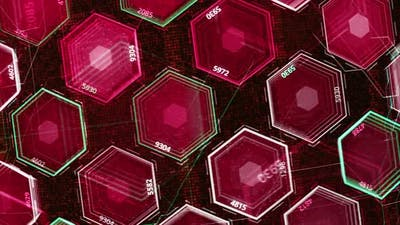 Abstract grid of colorful hexagons of red and violet colors