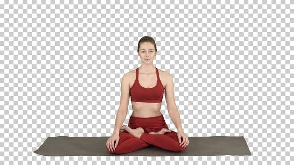 Thumbnail for Sporty Attractive Woman Practicing Yoga Sitting in Lotus Exercise,