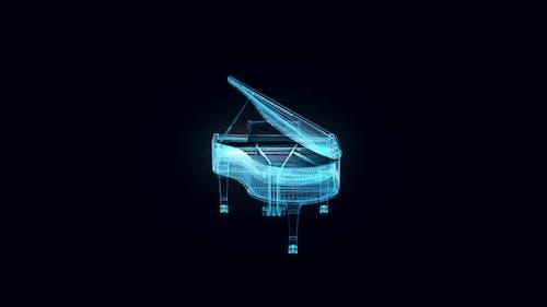 Grand Piano Hologram Rotating 4k