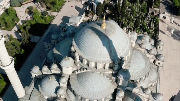 Fatih Mosque Dome And Golden Alem Aerial View 3