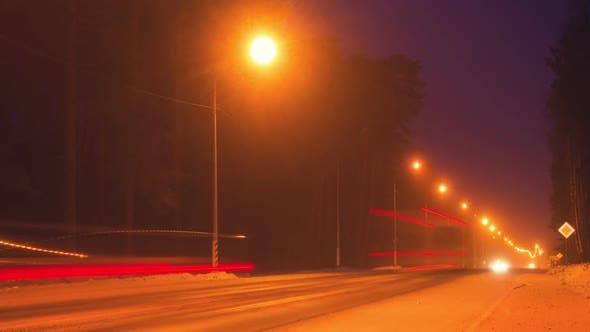 Thumbnail for View on Night Highway at Winter, Time Lapse