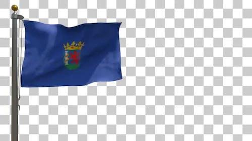 Flagge der Provinz Badajoz (Spanien) auf Fahnenmast mit Alphakanal - 4K