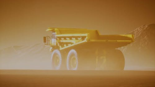 Big Yellow Mining Truck in the Dust at Career