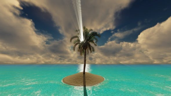 Thumbnail for A Lone Palm Tree On A Piece Of Sand In The Ocean 1