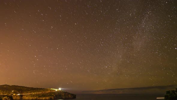 Thumbnail for star lapse night stars mallorca coast