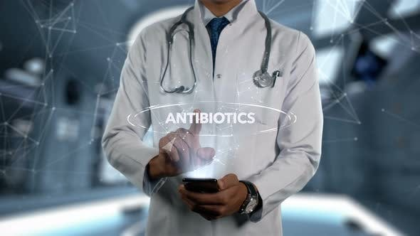 Antibiotics Male Doctor Hologram Treatment Word