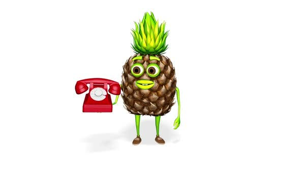 Pineapple Character Shows Phone  Loop On White Background