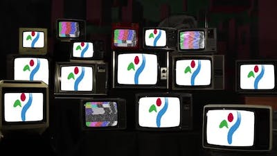 Flag of Seoul City and Televisions from 80s and 90s.