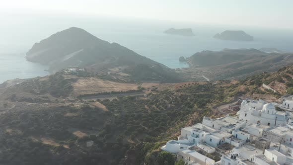 Aerial of Greek Village with Ocean View