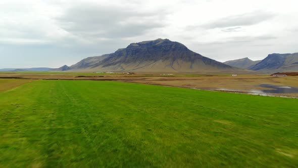 Thumbnail for Aerial View of Mountain Landscape with the Plains Valley. Iceland