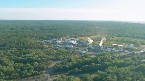 Aerial panoramic view on of a industrial plant zone chemical factory production