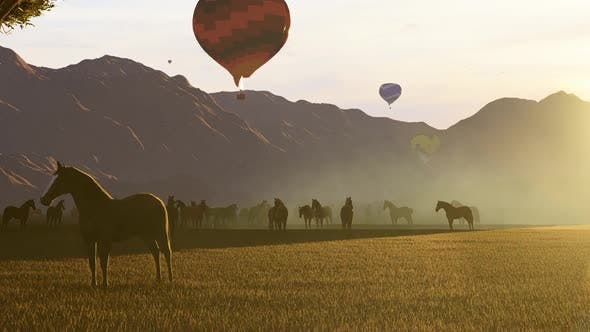 Balloons and Wild Horses at Sunset
