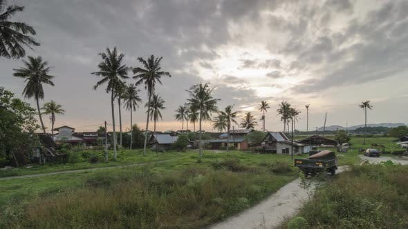 Thumbnail for Timelapse  high angle of a traditional Malay village
