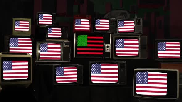 African American Flag and Many US Flags on Retro TVs.