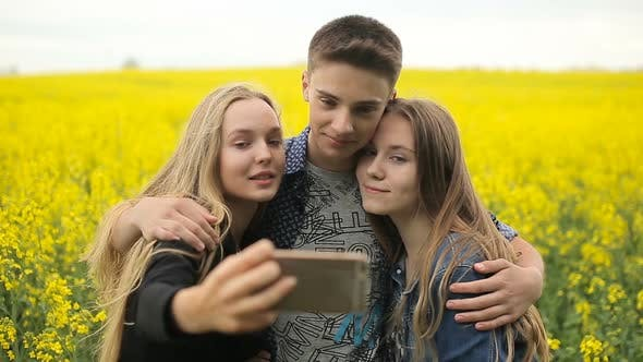Thumbnail for Teenager Friends Posing and Taking Selfies