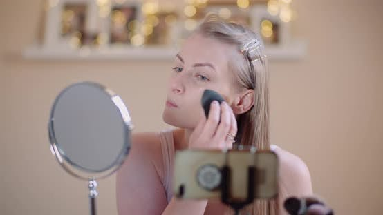 Thumbnail for Attractive Female Doing Makeup Applaying Powder