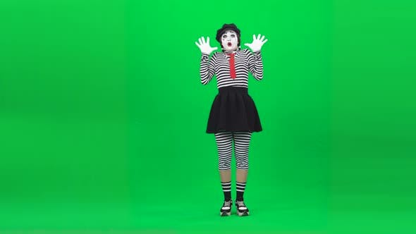 Thumbnail for Mime Girl Is Looking Very Scared. Chroma Key. Full Length.
