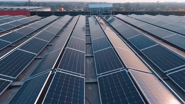 Thumbnail for Rows of solar panels on roof at sunset