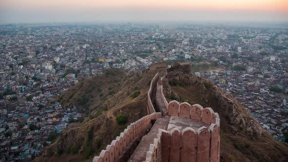 Time lapse 4k. beautiful sunset view from Nahargarh Fort stands on the edge of the Aravalli Hills