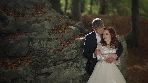 Thumbnail for Groom with Bride in the Forest Park. Wedding Couple. Happy Family