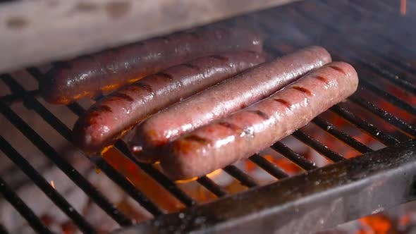 Barbecue Sausages Grilled on a Fire Grill