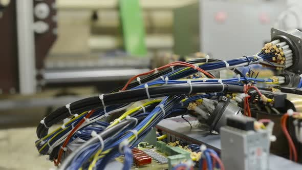 Harnesses of Electrical Cables Lie on the Circuit Board.