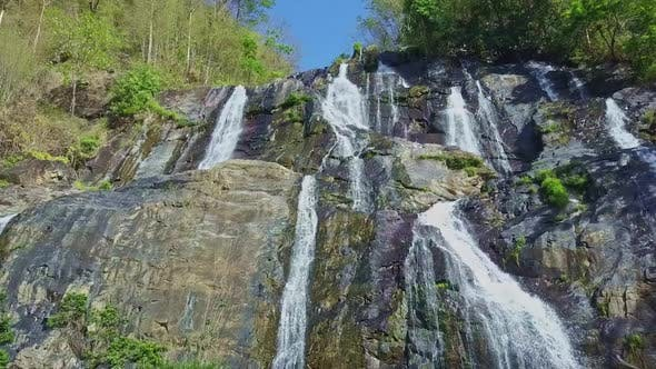 Drone Approaches Closely Fantastic Waterfall Streams