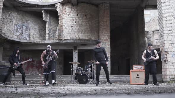 Thumbnail for Rock Band Playing Music in the Abandoned Building