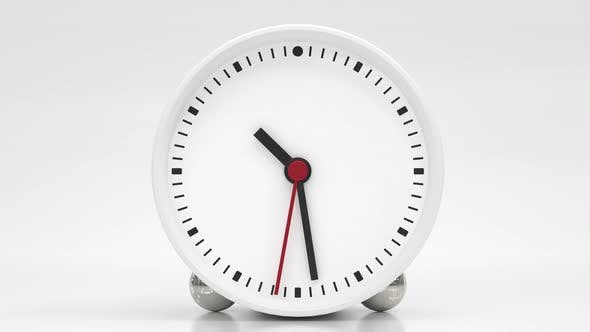 Clock face with hour minute and second hands about 10 o clock on white background