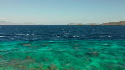 Turquoise Water Surface in the Lagoon