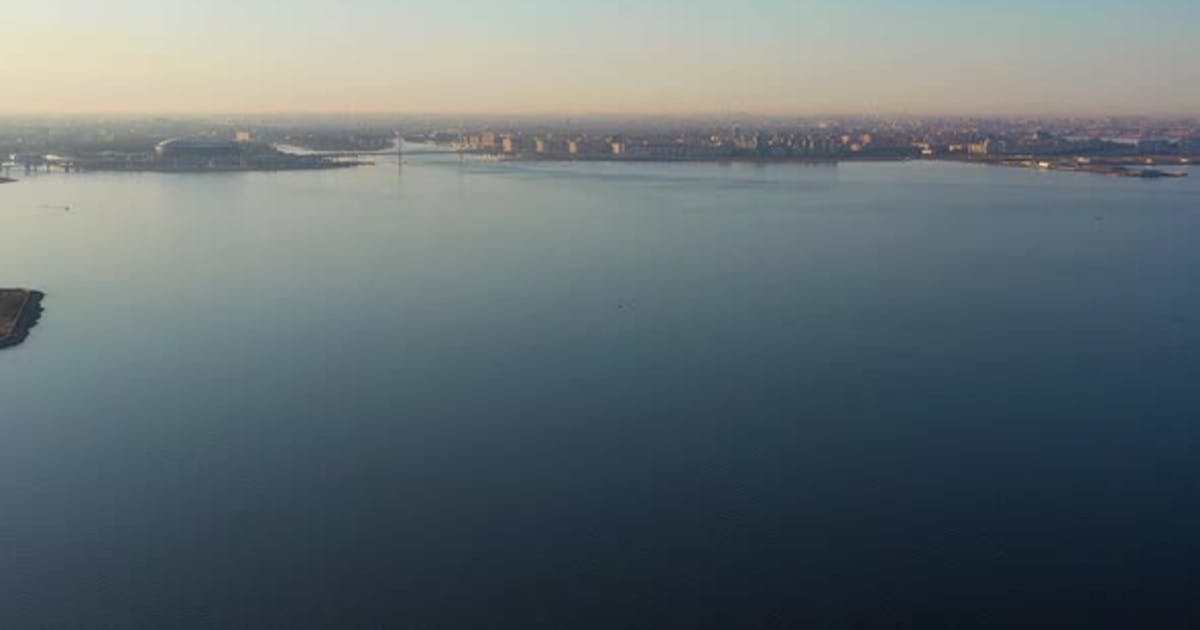 Saint-Petersburg City Skyline on Sunny Morning. Aerial View. Russia