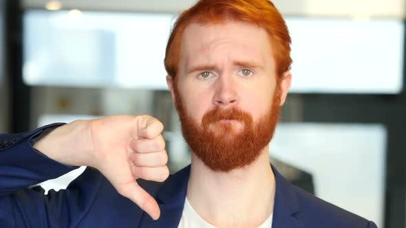 Thumbnail for Thumbs Down by Businessman with Red Hair, Beard