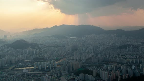 Thumbnail for Aerial View of Busan Cityscape Shadow in Korea