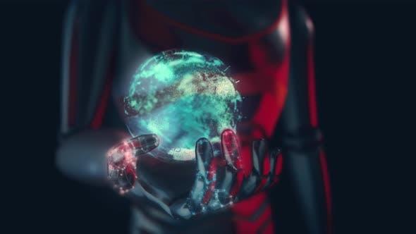 Digital Earth Globe On Robots Hand 4k