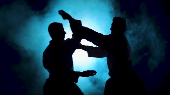 Thumbnail for Two Fighters Practicing Aikido Technique, Silhouettes of Masters in Dark Studio with Smoke and